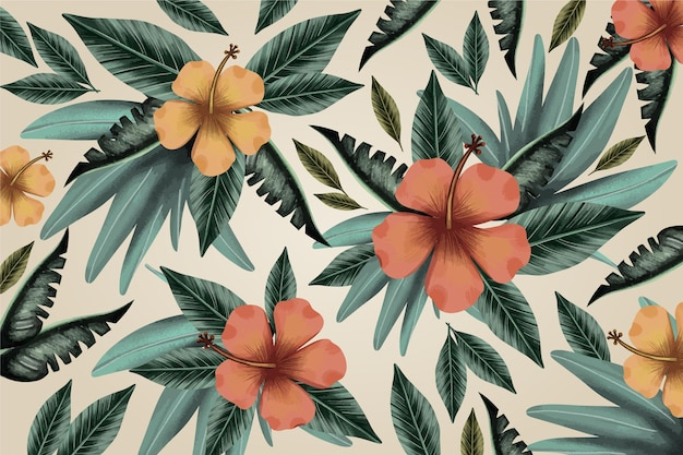 Fondo de hojas tropicales vintage