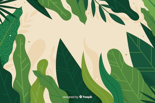 Fondo de hojas verdes abstractas dibujadas a mano