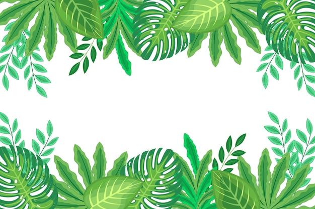 Fondo de hojas verdes exóticas de diseño plano