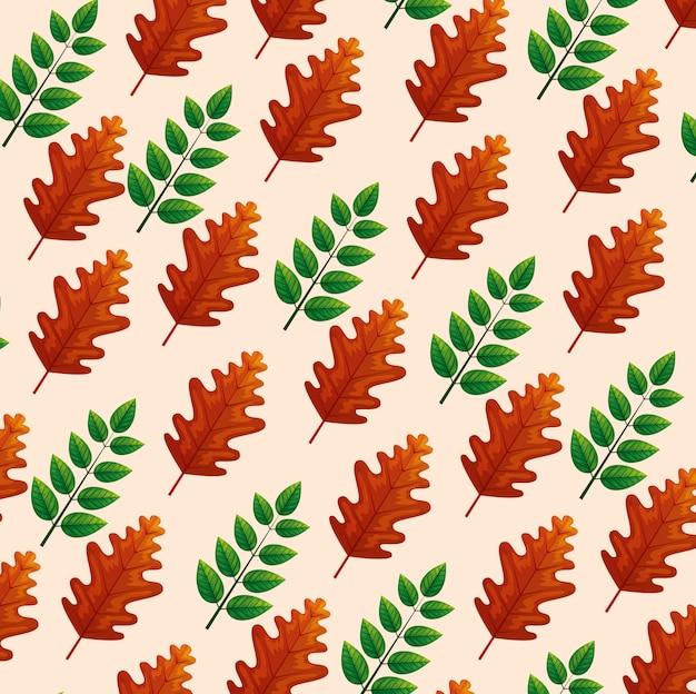 Fondo de hojas verdes y marrones
