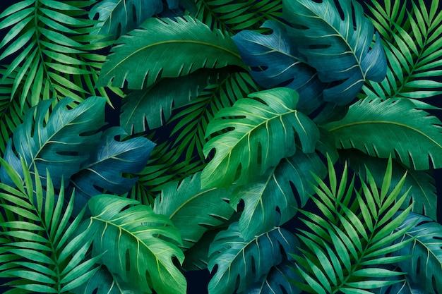 Fondo de hojas verdes tropicales