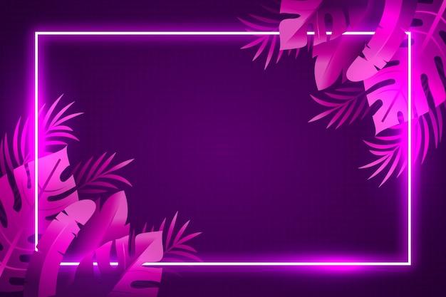 Fondo de hojas de violeta neón tropical