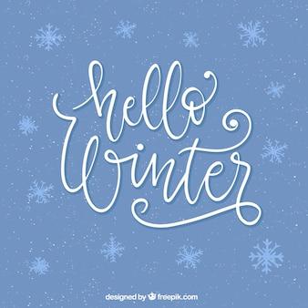 Fondo hola invierno con letras caligráficas blancas
