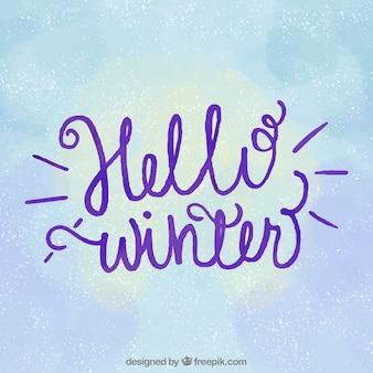 Fondo hola invierno con letras caligráficas moradas
