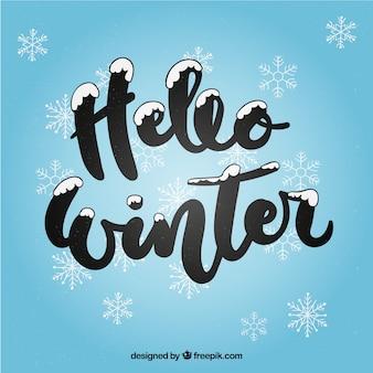 Fondo hola invierno con letras caligráficas negras