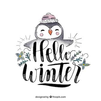 Fondo hola invierno con un pingüino lindo