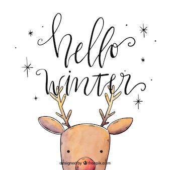 Fondo hola invierno con un reno
