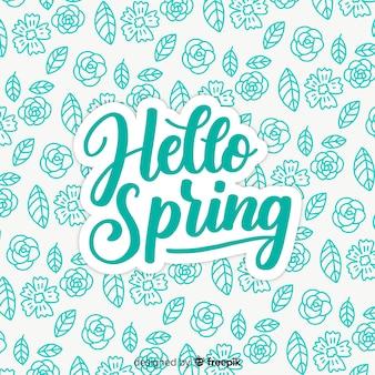 Fondo hola primavera garabatos