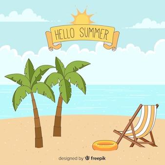 Fondo hola verano dibujado a mano