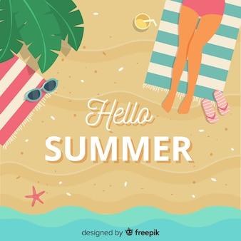 Fondo hola verano en diseño plano