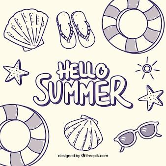 Fondo de hola verano con elementos de playa en monolíneas