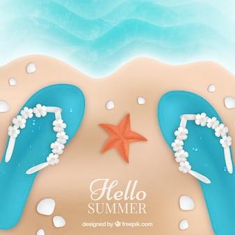 Fondo de hola verano con vista superior de playa