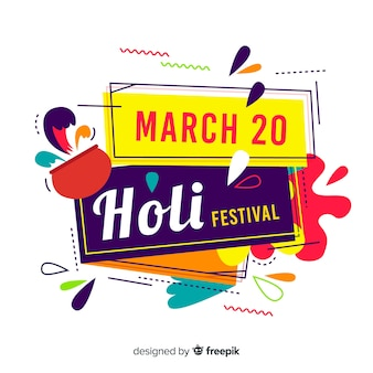 Fondo de holi festival en diseño plano