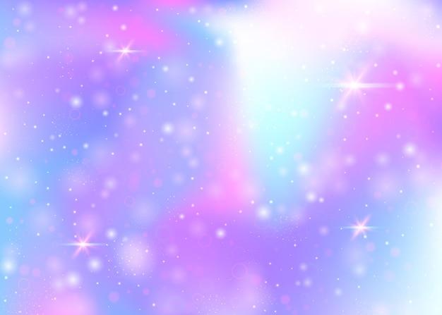 Fondo holográfico con destellos, estrellas y desenfoques.