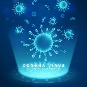 Fondo de holograma de coronavirus realista
