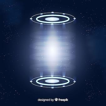 Fondo holograma de portal azul realista