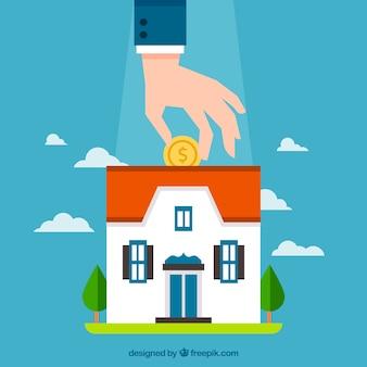 Fondo de hombre ahorrando para una hipoteca