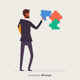 Fondo hombre conectando piezas de puzzle