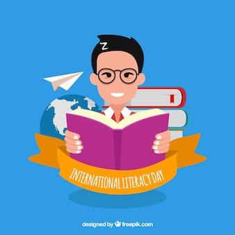 Fondo de hombre leyendo un libro