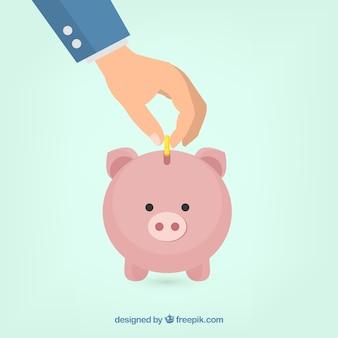 Fondo de hombre de en negocios ahorrando