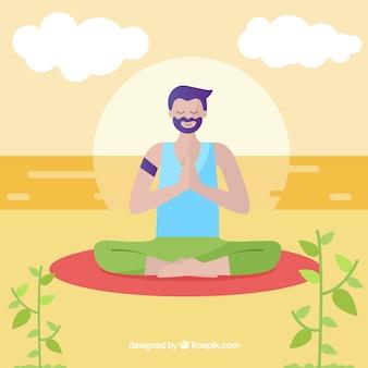 Fondo hombre practicando meditación y mindfulness