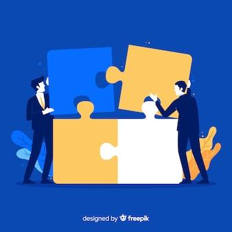 Fondo hombres conectando piezas de puzzle