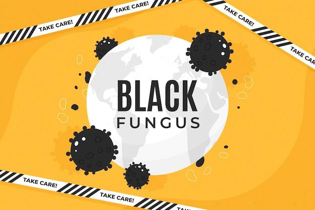 Fondo hongo negro dibujado a mano