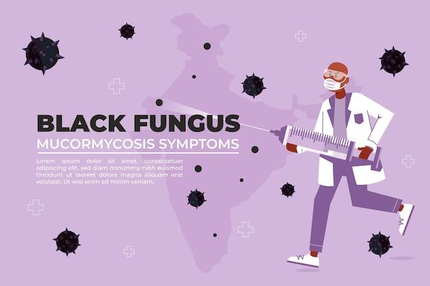 Fondo de hongo negro plano