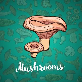 Fondo de hongos dibujados a mano