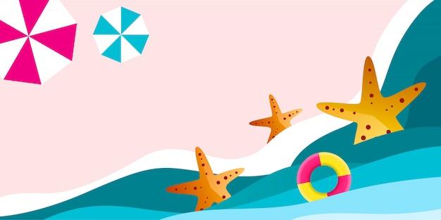 Fondo de horario de verano con una ilustración de playa