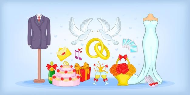 Fondo horizontal de la boda, estilo de dibujos animados