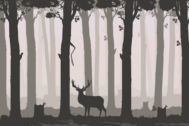Fondo horizontal con bosque caducifolio y ciervos