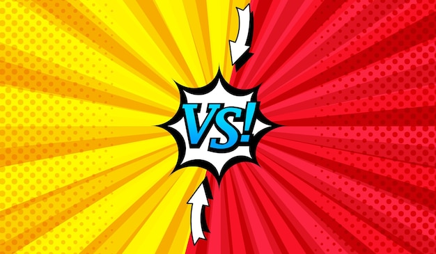 Fondo horizontal cómico versus brillante con dos lados opuestos, flechas, bocadillo, efectos radiales y de medios tonos en colores rojo y amarillo.