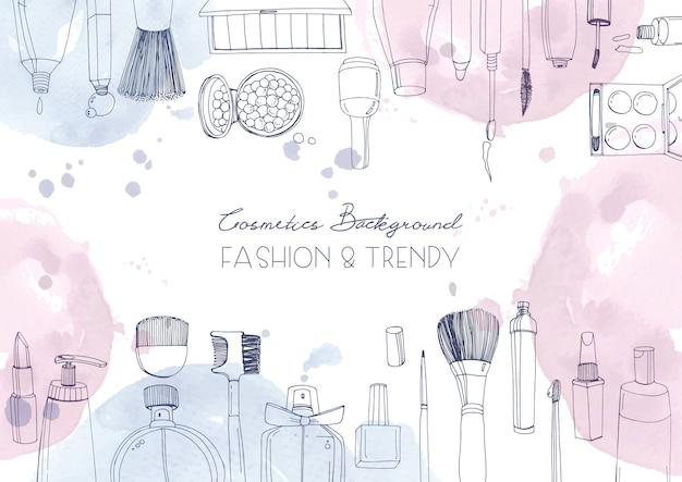 Fondo horizontal de cosméticos de moda con objetos de artista de maquillaje y manchas de acuarela. ilustración dibujada a mano con lugar para el texto.
