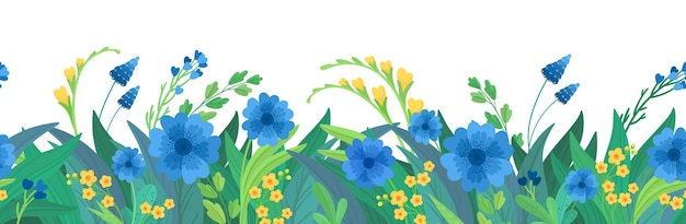 Fondo horizontal floral. frontera de flores silvestres azules y amarillas.