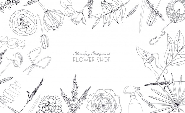 Fondo horizontal con flores para publicidad, tienda de flores, salón. composición monocromática dibujada a mano con lugar para texto