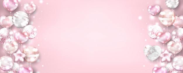 Fondo horizontal de globos de oro rosa para cumpleaños y celebración