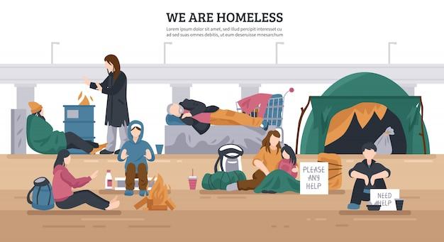 Fondo horizontal de personas sin hogar