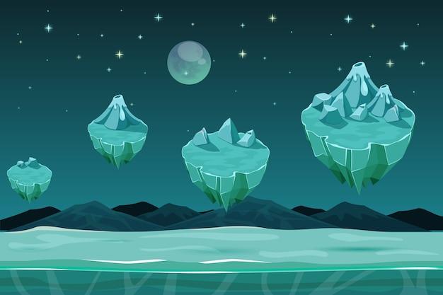 Fondo horizontal del planeta juego congelado, patrón de juego con islas de hielo. juego de paisaje natural, juego de diseño de invierno con nieve. fondo del juego ui