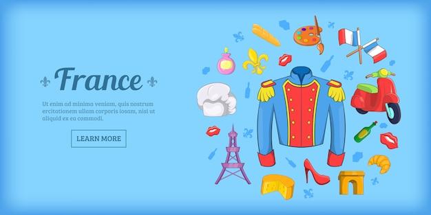Fondo horizontal de viaje de francia, estilo de dibujos animados
