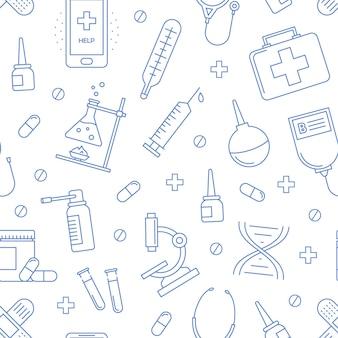 Fondo de hospital médico de patrones sin fisuras con iconos vectoriales de equipos de atención médica