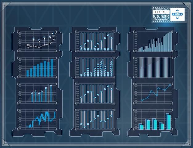 Fondo de hud. conjunto gráfico de elementos de infografía. datos digitales, conjunto de antecedentes comerciales. elementos de infografía.