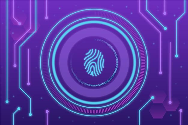 Fondo de huella digital de neón púrpura y azul
