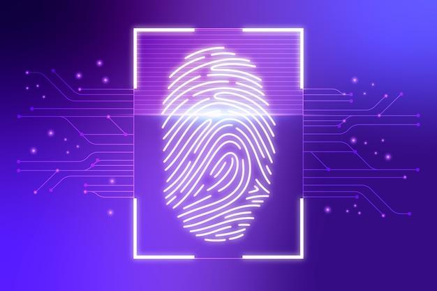 Fondo de huella digital de neón violeta