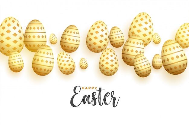 Fondo de huevos de oro decorativos feliz día de pascua