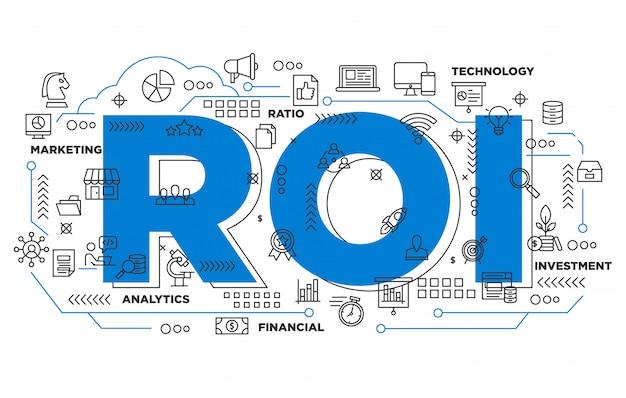 Fondo icónico de retorno de la inversión en marketing digital