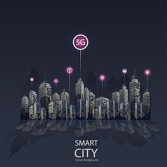 Fondo de icono de ciudad inteligente 5g