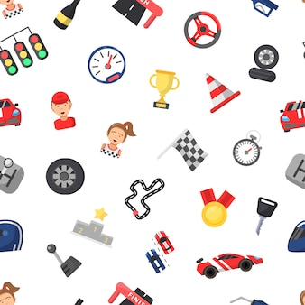 Fondo de iconos de carreras de coches planos