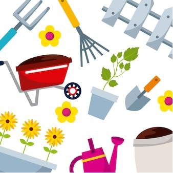 Fondo con iconos de equipos de jardinería