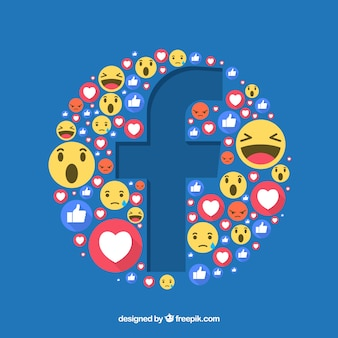 Fondo de iconos de facebook con diseño plano